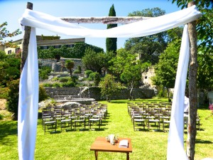 Ceremony set up at Pedruxella - I'm with my keyboard and PA in the shade under a tree out of shot!  Photo by Emma Fenton
