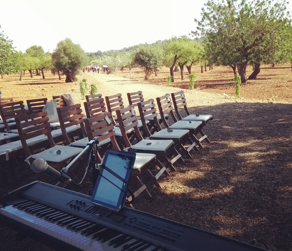 Son Tugores Wedding ceremony pianist under a tree