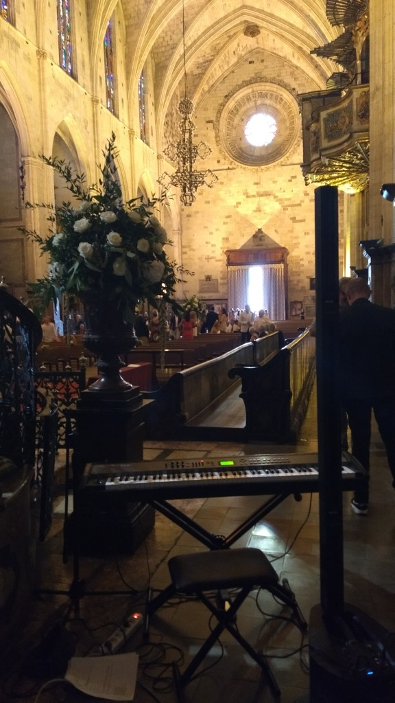 Piano set up ready for the church ceremony in Palma de Mallorca